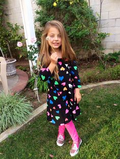 Soft tunic and leggings. She also loves her glitter shoes!