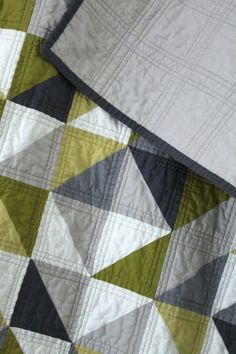 grey and green geometric quilt. | by CB Handmade