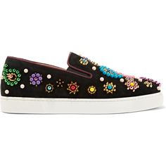 Christian Louboutin Boat Candy 20 embellished suede sneakers ($1,345) ❤ liked on Polyvore featuring shoes, sneakers, black, slip-on shoes, black slip-on sneakers, floral slip on sneakers, black slip on sneakers and colorful sneakers