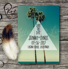 PRINTABLE Twin Palms Save The Date Wedding by KittyLovesLou