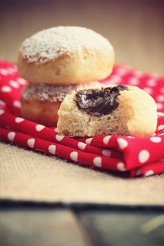 Delightfully chocolate-stuffed Beignets au Four. #food #doughnuts #chocolate #French #dessert