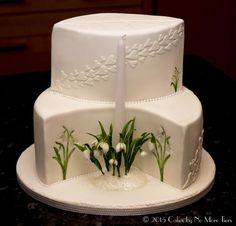 Fiona Brook Cakes with sugar snowdrops. Click through to read the story behind this cake.