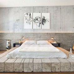 Hoy toca hablar sobre los Tatami, el descanso oriental natural por excelencia. Industrial Bedroom Design, Industrial Interiors, Industrial Loft, Industrial Farmhouse, Farmhouse Design, Modern Farmhouse, Rustic Modern, Rustic Wood, Deco Design