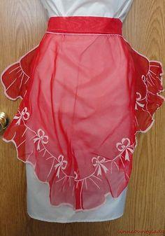 Vtg Red Sheer Half Apron Nylon Flocked White Ribbons Bows Sexy Valentine