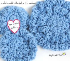 """Scrubbie Free Crochet Pattern - Pamper yourself or Baby with eco-friendly reusable cotton balls or small 3.5"""" scrubbies."""
