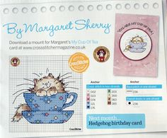 x stitch; margaret sherry; cat in a cup                              …                                                                                                                                                                                 More