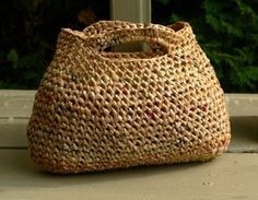Crocheted bag from plastic grocery bags