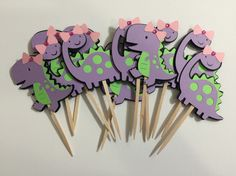 Girl T-Rex & Brontosaurus Dinosaur - Cupcake Toppers - Set of 12 - Lime Green and Purple by MonkeyLimeStudios on Etsy https://www.etsy.com/listing/225316883/girl-t-rex-brontosaurus-dinosaur-cupcake