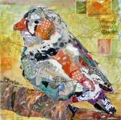 "Nancy Standlee Art Blog: ""Feed the Birds"" ~ a Bird Collage with hand painted papers ~ Art Journaling Classes by Nancy Standlee, Texas Contemporary Artist"