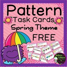 FREE Pattern Task Cards- Spring Theme  This is a Spring themed set of 24 task cards that will help students determine how the pattern will continue. This set is a wonderful addition to your lessons! I've included a recording sheet and answer key, too!  ********************************************************************* Here are some possible uses for these in your classroom:  *early finishers *tutoring *sub tubs * math stations/centers *holiday work *small group *end of unit quick…