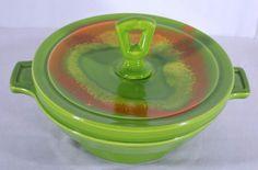 Vtg CALIF USA 850 MCM Pottery Bowl Dish w Lid Lime Green Orange Yellow