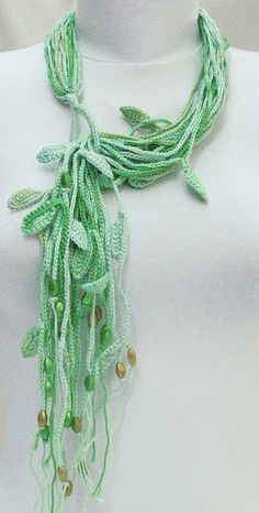crochet cotton necklace-green tones | Flickr - Photo Sharing!