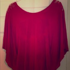 BoHo Free People Open Back Top Awesome rust color, Free People shirt, open lace back with a flowy bat wing front, covers what it needs to while still showing some skin! Size L Free People Tops Tunics