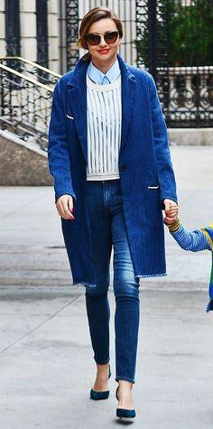 Miranda Kerr fall street style with blue coat and denim jeans #celebs #denim