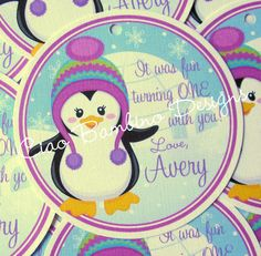 Winter ONEderland Penguin Favor Tags for Girls  by ciaobambino, $6.00