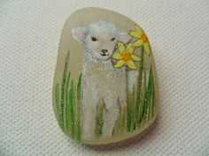 Spring lamb & daffodils  - Original acrylic miniature painting on English sea glass