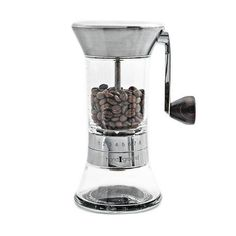 Handground Precision Coffee Grinder: Manual Ceramic Burr Mill  Brushed Nickel