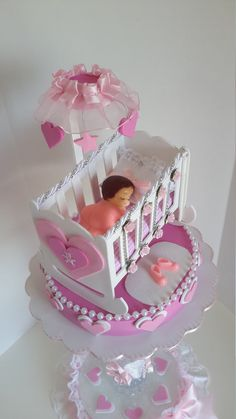 Bebé en cuna centro de mesa centro de mesa rosa