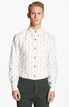 Band of Outsiders Embroidered Fly Woven Shirt | Nordstrom