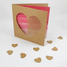 Dot Dot Heart Valentines Day Card Laser Cut Paper Cut Laser Cut Paper, Dot Dot, Pink Watercolor, Kraft Envelopes, Paper Cutting, Etsy Store, Valentines Day, Dots, Colours