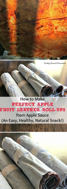 Do you have apple sauce you need to use up?maybe you just want to make a natural healthy snack your kids will love? Here's a recipe and directions for how to make the perfect apple fruit leather from apple sauce! Find out how to make apple fruit rol Dehydrated Apples, Dehydrated Food, Fruit Strips, Fruit Leather Recipe, Buffet, Avocado, Boite A Lunch, Fruit Roll Ups, Fruit Snacks