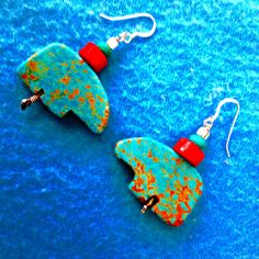 ZUNI BEAR TURQUOISE And Coral Earrings 2 Inch High+Sterling Wired+Sterling French Hooks+Handcut Turquoise* Bears+One Set Only+Free Shipping* by TjeansJewelry on Etsy