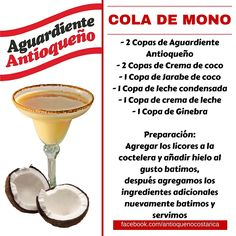 ¡Aguardiente Antioqueño combina con todo! #Aguardiente #Antioqueño #Coctel #Cocktail #ColaDeMono Non Alcoholic Drinks, Cocktail Drinks, Cocktail Recipes, Beverages, Pudding Shots, Mojito, Bartender, Happy Hour, Whisky