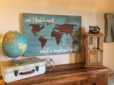 World travel decor, world map decor, travel bedroom, travel wall, guest roo World Travel Decor, Travel Theme Decor, Travel Themes, World Map Decor, Travel Posters, Deco Studio, Road Trip With Kids, Idee Diy, Wood Canvas