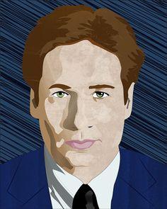 X-Files Fox Mulder portrait print original digital art fan art limited run tv sci-fi gillian anderson david duchovny fox mulder by GrimApplesMustDie