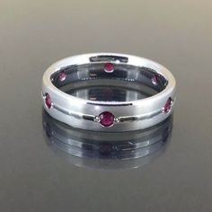 18k White gold Natural untreated Ruby Eternity Satin wedding Ring band .30ctw by crystalanchor on Etsy