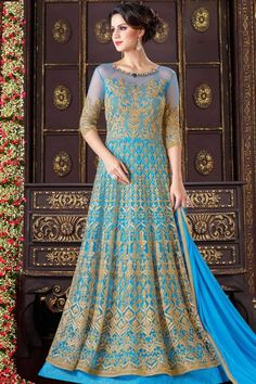 Blue Net semi stitch anarkali churidar suit. Allover embroidered with embroidered work. Boat neck, Floor length, elbow length sleeves kameez. santoon. chiffon dupatta. Product are available in 34,36,38,40 sizes. It is perfect for Festival Wear,Wedding Wear,Party Wear,Eid. Andaaz Fashion is the most popular designer wear online ethnic shop brands in CAERPHILLY, UK