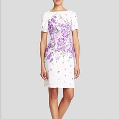 Adrianna Papell Floral-Print Sheath Dress Very sophisticated dress. It place floral print shealth silhouette lined, hits above the knee. Exposed back zipper closure & short unique ruched sleeves;split at shoulders.NWT Adrianna Papell Dresses Mini