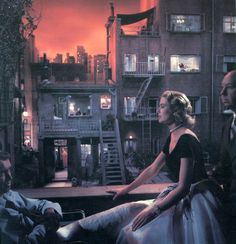 Kelly. Stewart. And a little Hitchcock. On the set. Rear Window. '54.
