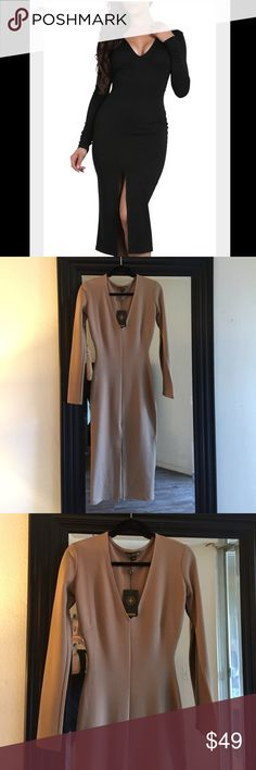 FEMME LA Just Enaj Kim K deep v midi dress size s Femme LA Nude/ tan colored Kim K inspired dress features a deep plunge neckline and front slit that comes right about the knee and long sleeves. Hugs your every curve yet gives a slimming affect. La Femme Dresses Midi
