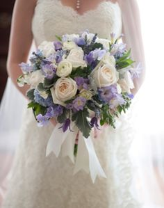 large white and blue bridal bouquet