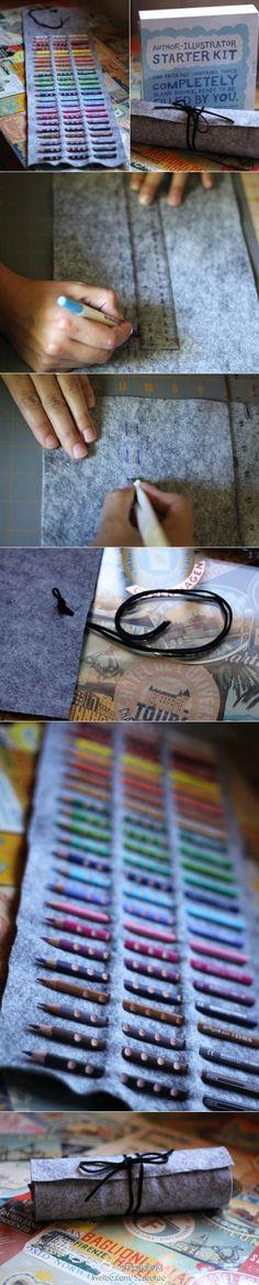 超级简单的不需缝制的铅笔袋DIY教程