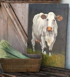 The Everyday Home: handpainted cow for sale at Farmhouse Decor Shop!