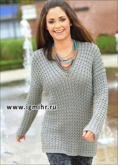 Модная классика. Серый пуловер из рельефного узора. Спицы