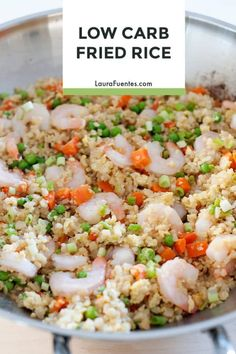 This Low Carb Cauliflower Fried Rice is easy to make, and Keto friendly! Paleo Dinner, Healthy Dinner Recipes, Real Food Recipes, Keto Recipes, Keto Foods, Skinny Recipes, Eat Healthy, Healthy Meals, Rice Recipes