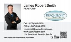 Beachfront Realty Business Cards QRC - BRI-BC-095 - QR Code With Photo, Compact, Medium Size Photo, White Others