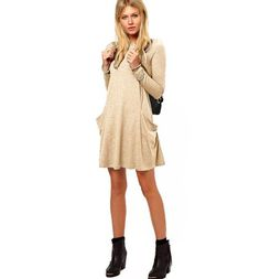 Knee Length Tunic With Pocket Maternity Dress Stylish Maternity, Maternity Dresses, Stylish Pregnancy, Fall Dresses, Knitted Fabric, Trending Outfits, Sweaters, Cotton, Pockets