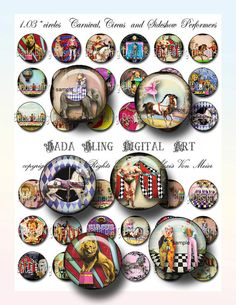 Carnival, Circus and Sideshow Performers, digital collage sheets of  bottle cap images  INSTANT  Digital Download at Checkout on Etsy, $5.00