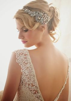 Lovely lace back with crystal beaded trim ~ Mori Lee by Madeline Gardner Spring 2014 Collection