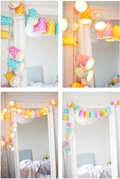 Paper cup light garland - DIY for kids Diy And Crafts Sewing, Crafts To Sell, Diy Crafts, Crafts For Teens, Diy For Kids, Diy Pinterest, Decoracion Low Cost, Do It Yourself Baby, Deco Luminaire