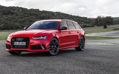 Audi RS6 Avant, red RS6, wagon, tuning Audi, red Audi