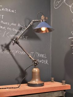 Vintage Industrial Desk Lamp w/ Blue or Copper Shade - Machine Age Task Light - Cast Iron - Steampunk. $425.00, via Etsy.
