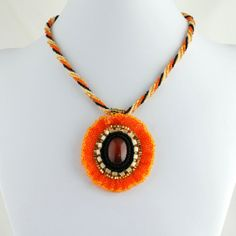 Tangerine Poppy Glass Flower Necklace Bead by LuxVivensFashion, $225.00