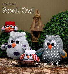 OWLS WITH SOCKS - Tutorial: Owl sock softie