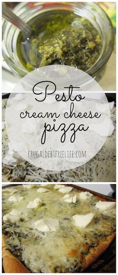 Pesto Pizza With Cream Cheese . This is serisouly the best homemade pizza. You wouldn't think cream cheese and pesto would go together, but it really does.