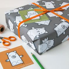 Finger Puppet Interactive Wrapping Paper Set. Children's Gift Wrap. Quirky Eco Friendly Paper. Colour In Wrapping Paper. Christmas Wrap.